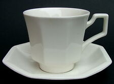 TWO Johnson Brothers Heritage White Pattern Tea Cups & Saucers - Look in VGC