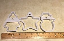 3} Christmas White Plastic Cookie Cutters Snowman,Tree & Star Great Condition*