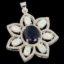 Hollow Flower 8x10 Blue Sapphire White Fire Opal Silver Jewelry Necklace Pendant