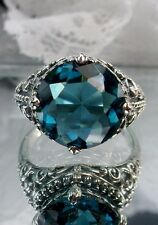 Gothic Lace Filigree Ring Size: 7 5ct *London Blue Topaz* Solid Sterling Silver