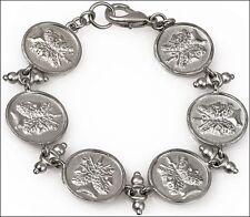 "Janus 6 Charm Bracelet Silver-Plate over Pewter 7.5"" in Length"