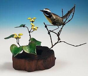 Norman Brumm Yellowthroat Warbler With Violets Enamel on Copper Bird Sculpture
