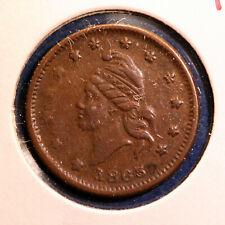Nice Civil War patriotic token - 1863, Liberty Head, Army & Navy