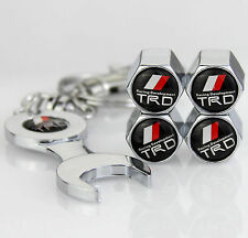 4x Car Tyre Stems Air Cover Valve Caps + Wrench Keychain Key ring For TRD
