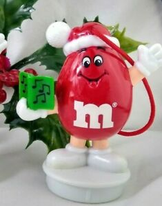 M&M Christmas Ornament Caroler w/ Santa Hat Candy Topper 1995 Red