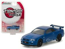 2002 NISSAN SKYLINE GT-R R34 BAYSIDE BLUE 1/64 DIECAST BY GREENLIGHT 29880 E