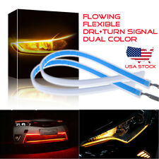 "60cm 24"" Red Amber Yellow Switchback LED Strip Light DRL Flowing Turn Signal US"