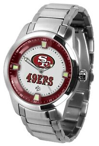San Francisco 49ers Watch Mens Game Time Titan Stainless Date Wristwatch
