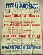 Affiche ancienne FETE DE SAINT-CLOUD Sport Gymnastique Cyclisme Vintage Poster
