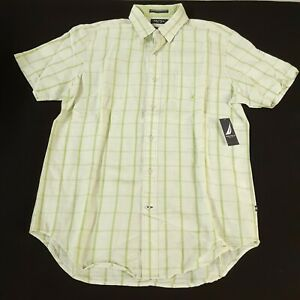 Nautica Mens Medium Linen Shirt Lime Green Window Short Sleeve Classic Fit New