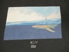 HURLEY SURF CO LIMITED SHARK SWIMMING IN OCEAN BLACK LARGE T-SHIRT D43