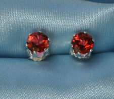 HANDCRAFTED 4 MM  ROUND NATURAL RED/PINK SAPPHIRE STERLING STUDS