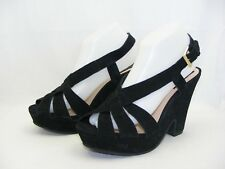 BERTIE BLACK SUEDE LEATHER BUCKLED STRAP DEMI WEDGE  SUMMER SANDAL UK 7  40