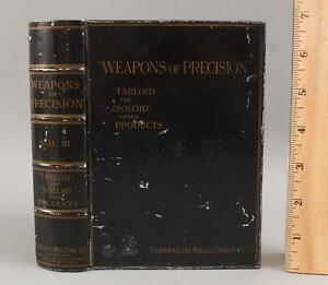RARE Antique Advertising Medicine Tin Book Box, Weapons of Precision