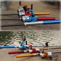 Mini Telescopic Portable Pocket Alloy Tackle Pen Fishing Pole Rod + Fish Reel
