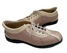 AEROGREEN SUMMER Women's Golf Shoes Woven Leather  Spikeless Pink & White Sz 9.5
