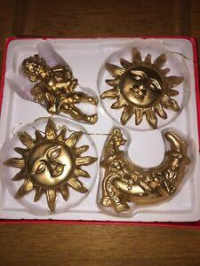 Vintage SUN MOON Cherub CHRISTMAS DECORATIONS RETRO  Plastic