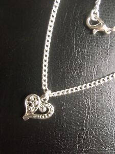 Large Plus Size Anklet 11 Inch Heart Charm Silver Plated Beach Holiday