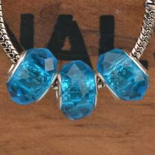10pcs Lake Blue Faceted Lampwork Glass Murano Big Hole Beads Fit Charms Bracelet