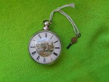 Reloj De Bolsillo Verge fusee par Entubado De Plata Pintado Dial T.M. Jackson Horncastle