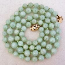 """Vintage? 26"""" Chinese Green JADEITE Jade 8.7mm Bead Necklace with 14K Gold Clasp"""