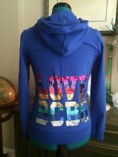 BCBG MAX AZRIA Rainbow Sequin LOVE BCBG Hoodie Hooded Jacket Zip Up Sz S HTF