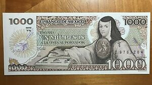 1985 MEXICO 1000 PESOS  NICE CRISP UNCIRCULATED NOTE