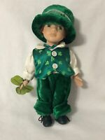 Choice Collectible Doll St. Patricks Day Boy Bisque Porcelain 4 Leaf Clover