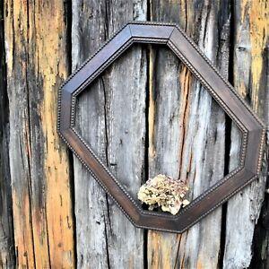 Antique Vintage Bobbin Carved Oak Frame Octagon Wall Gallery Picture Frame
