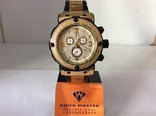 Men Aqua Master Jojo  Joe Rodeo Yellow Black Metal Band 46mm Diamond Watch W#146