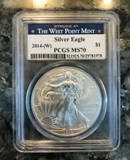 """2014 W SILVER AMERICAN EAGLE """"STRUCK AT WEST POINT"""" PCGS MS70"""