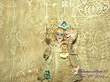 ANTIQUE GERMAN BISQUE GIRL DOUBLE JOINTED ANTIQUE LACE DRESS MINIATURE 3'' DOLL
