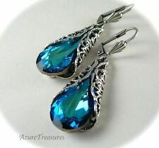 Drop Dangle Wedding Engagement Earrings Vintage Silver Blue Sapphire Gem Feather
