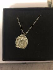 "Vitruvian Man TG602  Pewter On 18"" Silver Plated Curb Necklace"