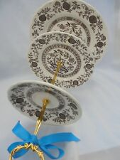 WEDDING CAKE STAND, Staffordshire Vintage,Brown Transferware,3 Tier Onion