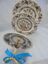 WEDDING CAKE STAND, Staffordshire Vintage,Brown Transferware,3 Tier Onion