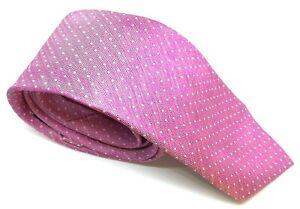 "Jaeger Men's Tie Pink Polka Dot 100% Silk 3"" Wide 61"" Long"