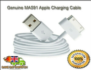 Apple iPod Nano Shuffle Touch Classic USB Charger Sync Lead Cables 2 x Genuine