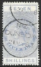 More details for new zealand 1882 7d ultramarine p.12 1/2 watermark 6cc, so 1887 cds. sg f28.