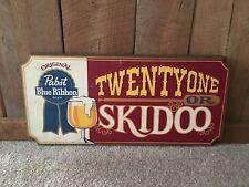 Vintage Pabst Blue Ribbon Beer Twenty One Or Skidoo Wood Wooden Sign Bar Pub