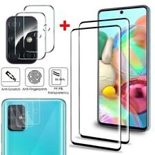 For Samsung Galaxy A51 A71 Full Cover Tempered Glass Protector+Camera Lens Film