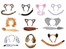 ANIMAL COSTUME EARS TAIL SET HEADBAND BOW  PARTY KIDS ADULTS FANCY DRESS KIT B4