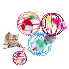 3pcs Funny Pet Kitten Cat Playing False Feather Mouse Rat Ball Cage Play Toy