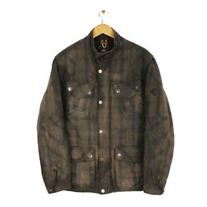 Timberland Mens Waxed Cotton Brown Checkered Full Zip Country Jacket - Size L