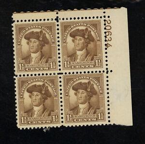 SCOTT 706 1932 1 1/2 CENT WASHINGTON BICENTENNIAL ISSUE PB4 MNH OG VF CAT $27!