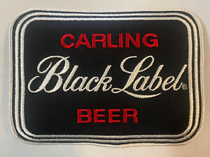 """Vintage New Carling Black Label Beer 7 1/2"""" x 6"""" Embroidered Patch F3D"""
