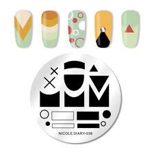 NICOLE DIARY Nail Art Stamping Plates Geometric Image Valentine's Day Series 038