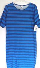 LuLaRoe Julia Tshirt Curvy Dress Bright Blue Small Black Stripes NWT Size Large