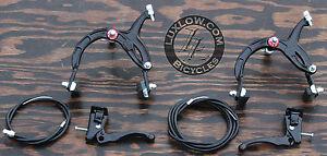 Black Old School BMX Bike MX Brake Set Lever Cable Caliper VintageCruiserBicycle