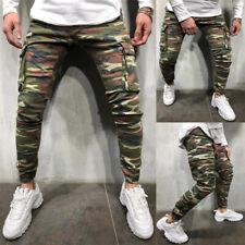 Men Combat Camo Pants Jeans Military Tactical Skinny Cargo Casual Denim Trousers